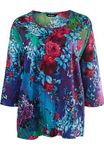 1X 16/18 NWT ULLA POPKEN FUN FLORAL SPRING KNIT TOP GORGEOUS BLUE GRN PINK $49
