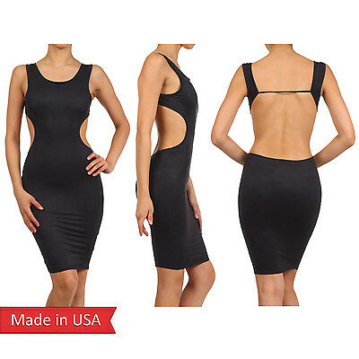 Women Sexy Faux Suede Leather Open Back Cut Out Bodycon Tank Dress US Size Large
