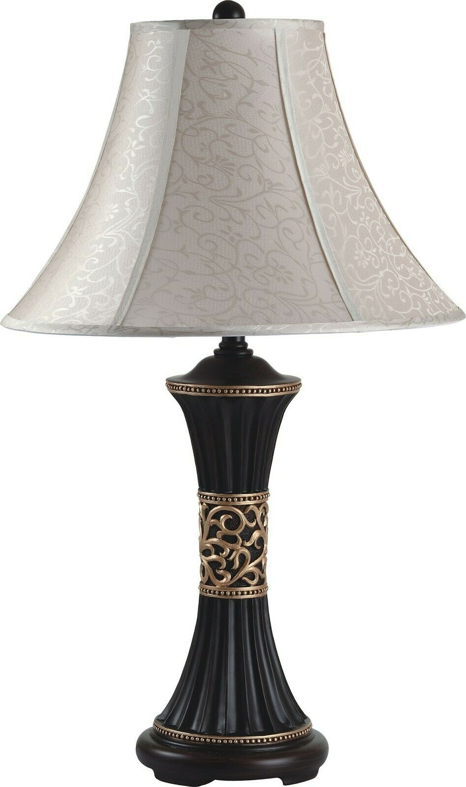 Ivory Shade Traditional Shape Home Decor Table Lamp Bedroom 2 Pc