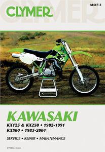 clymer repair service shop manual vintage kawasaki kx125 250 82 91 rh ebay com 2001 kx 125 service manual pdf 1998 KX125