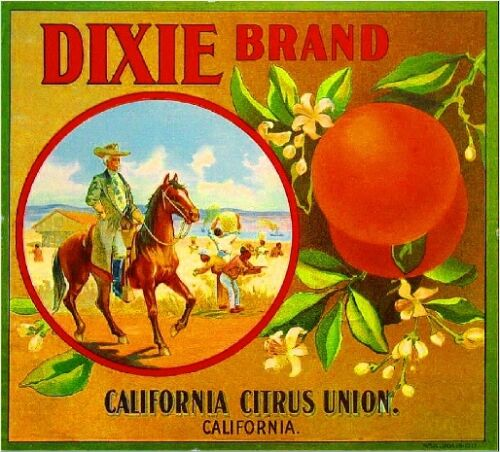 Los Angeles Dixie The Old South Orange Citrus Fruit Crate Label Art Print