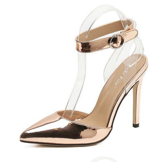 Sandalei eleganti tacco stiletto 11 11 11 cm oro comodi simil pelle eleganti 9777 5c01d6