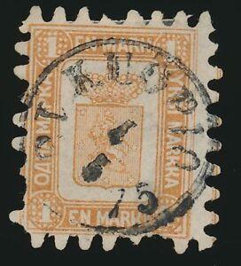 Finnland-Nr-10-B-zentrisch-gestempelt-1-Mark-gelbbraun-Durchstich-B-48789