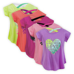 Girls-A-line-Printed-Top-Cross-Back-Children-Kids-Short-Sleeve-T-shirt-Blouse