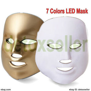 LED-Photon-Facial-Mask-Acne-Skin-Rejuvenation-Light-Therapy-7-Colors-Gold-White