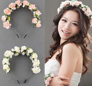 Image is loading Handmade-Floral-Crown-Rose-Flower-Headband-Hair-Garland- 6d8535fc019