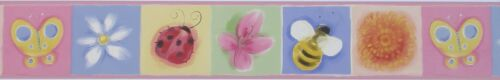 """Flowers Bugs Pre-pasted GB90032B 4.5/"""" x 15/' Baby/'s RoomNursery Wall Border"""