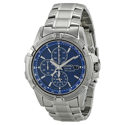 Seiko Solar Blue Dial Chronograph Stainless Steel Mens Watch SSC141