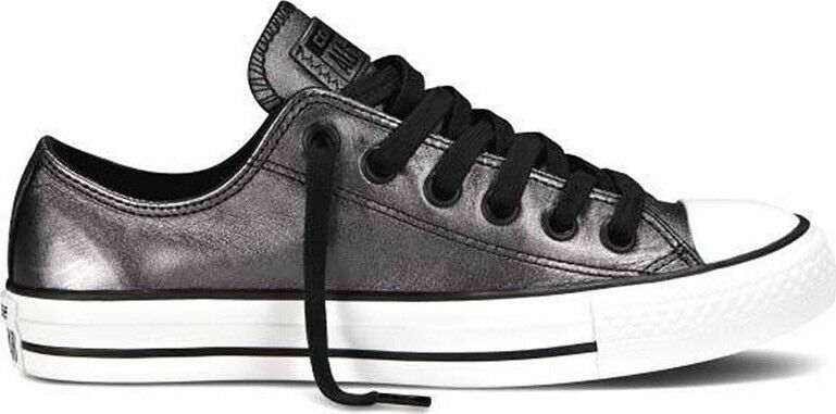 NEW Shine Converse Chuck Taylor All Star Low Top Gray Shine NEW Leather Sneakers Shoes 6 c550e8