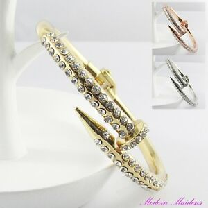Brass-Rhinestone-Nail-Hinged-Cuff-Bangle-Bracelet-Select-Colour
