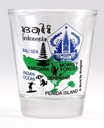 BALI INDONESIA LANDMARKS COLLAGE SHOT GLASS SHOTGLASS