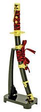 """RED 8"""" Japanese NINJA Samurai STAINLESS Sword Knife Letter Opener w/ Desk Stand"""