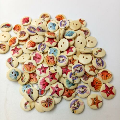 A Box of 100pcs Wooden Seashell 2-holes Buttons for Sewing Crafts DIY 15mm