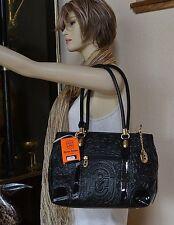 NWT Marino Orlandi Italian Signature Embossed Black Leather Satchel Handbag