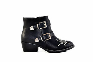 Therapy-Shoes-Bennet-Low-Block-Heels-Flat-Biker-Ankle-Boots-Black-SIZE-6-7