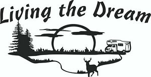 Living-the-Dream-Car-Van-Caravan-boat-motorhome-Sticker-decal-Large-2ft-x-1ft