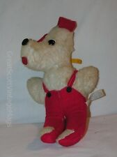 """Vintage Dan Brechner Plush Toy Dog with Red Overall Outfit 11"""" Tall"""