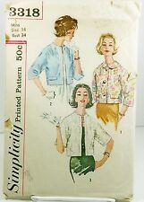 Simplicity 3318 Sewing Pattern Womens 60s Reversible Jackets Plus Size SZ 14 CUT