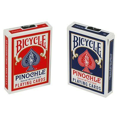 Lot 2 Bicycle Pinochle Regular Index Playing Cards 1 Red & 1 Blue Deck Game