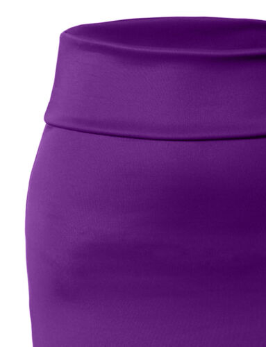 Women/'s High Waisted Fitted Stretch Bodycon Plain Midi Pencil Skirt NEWSK10