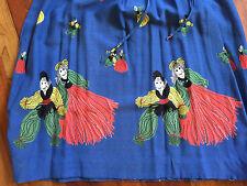 Vintage 1940s Crazy Dancing Yarn People Novelty Print Blue Rayon Blend Dress