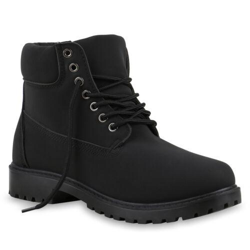 Damen Stiefeletten Worker Boots Outdoorschuhe Schnürstiefel 77534 Mode