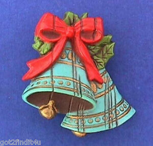 Hallmark-PIN-Christmas-Vintage-BLUE-BELLS-WOOD-LOOK-Holiday-Brooch