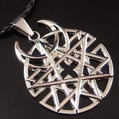 Wholesale 10 Sets of Big Star Moon Pentagram Pewter Pendant Free Necklace PP#243