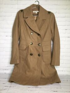 Kenneth-Cole-Womens-Size-8-Tan-Brown-Wool-Lined-Peacoat-Trench-Coat-Jacket