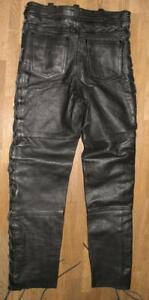schmale-Schnuer-LEDERJEANS-Biker-Lederhose-in-schwarz-in-W30-034-L30-034