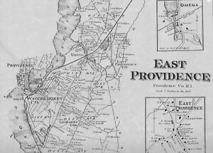 East Providence RI 1870 Map with Homeowners Names Shown | eBay