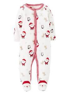 Carters Baby Infant Boy Girl Fleece Christmas Santa Sleeper Pajama