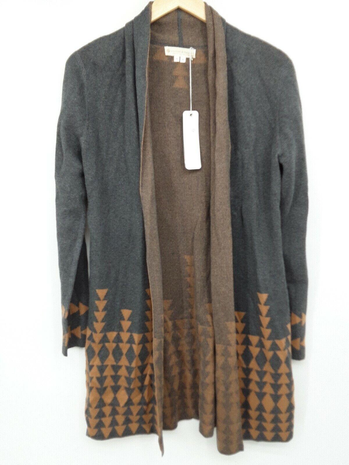 NWT Indigenous Designs Women's Sweater Jacquard Long Cardigan Charcoal Camel...