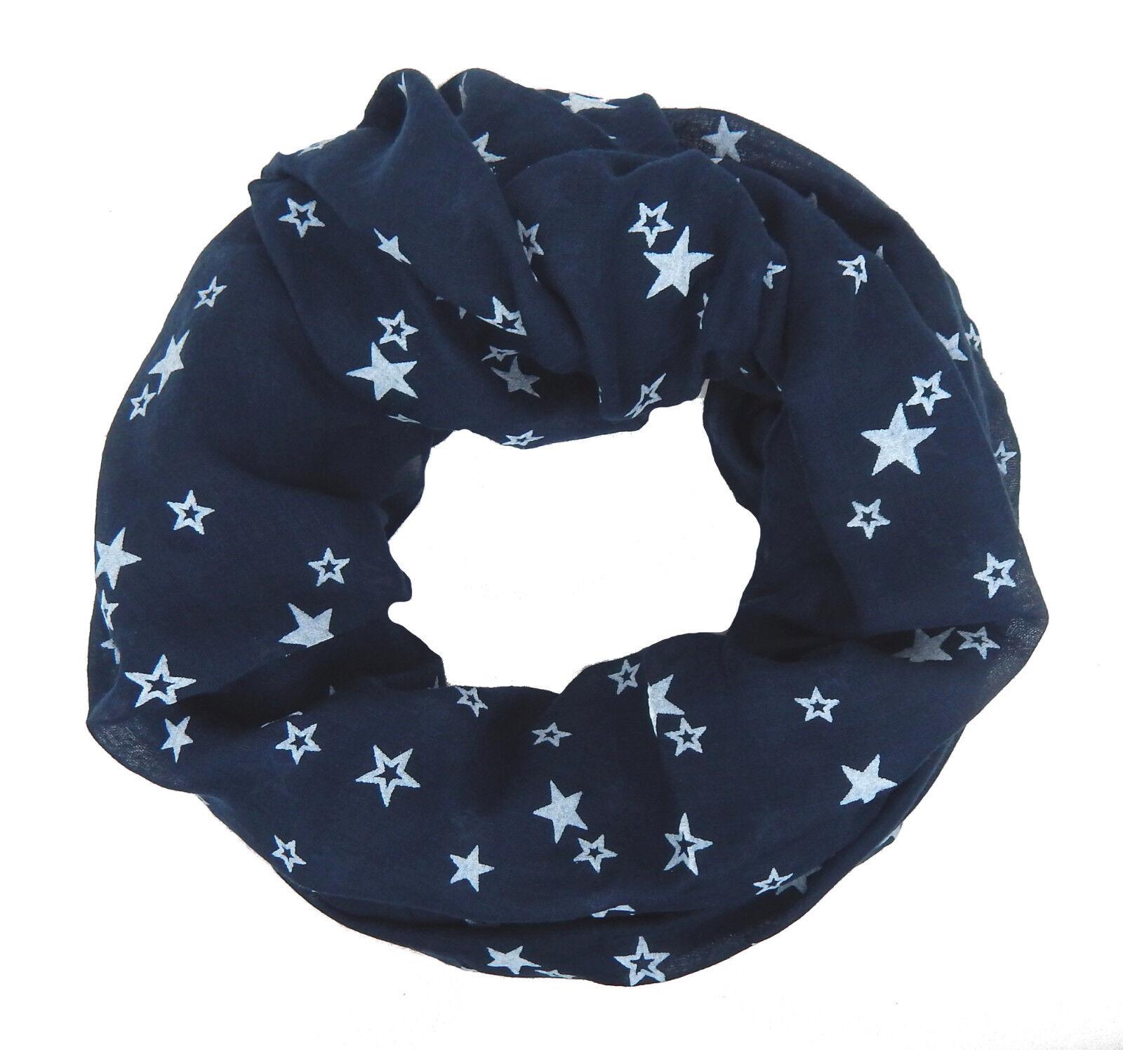 Ella Jonte Loop schwarz weiß Sterne Stern Motiv 100/% Viskose breiter Schal