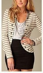 FREE PEOPLE~100% WOOL~IVORY~STRIPED *MILITARY-STYLE OPEN JACKET* BLAZER~S (RARE)