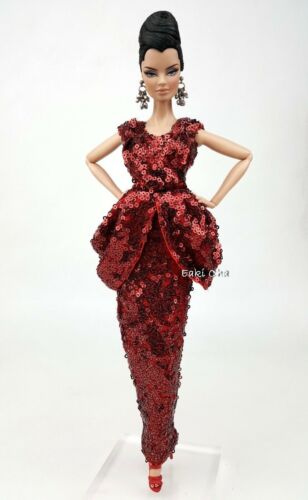 Eaki Red Fur Coat Evening Dress Gown Outfit For Silkstone Barbie Fashion Royalty