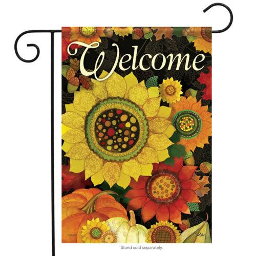 """Autumn Sunflowers Fall Garden Flag Welcome Glitter Pumpkins Floral 13/"""" x 18/"""""""