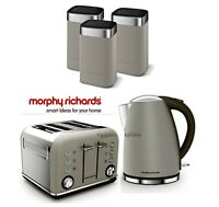 Morphy Richards Kettle And Toaster Set With Tea Coffee & Sugar Canisters Pebble