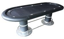 "96"" Poker Table, pedestal legs w footrest, black speed cloth, black ""racetrack"""