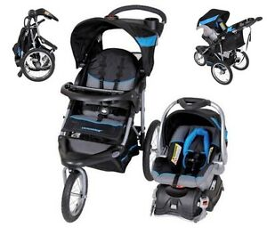 Image Is Loading Black Blue Jogging Stroller Carseat Combo Baby Trend