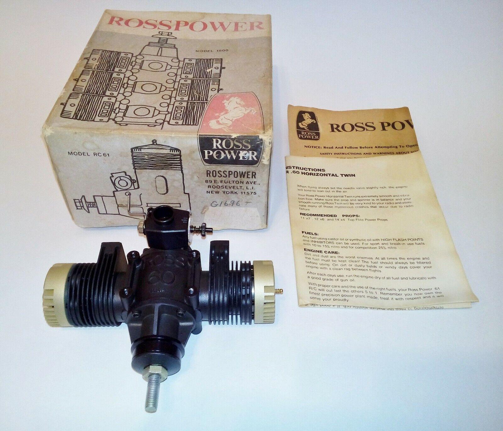 ROSS POWER .60 Twin Cylinder Nitro RC Model Airplane engine, 10cc N.O.S.