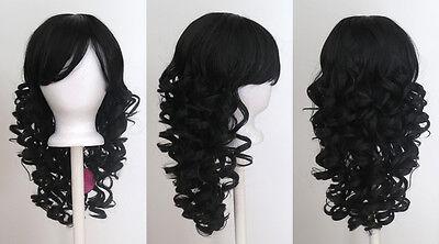20'' Long Layered Super Curly Long Bangs Natural Black Synthetic Cosplay Wig NEW