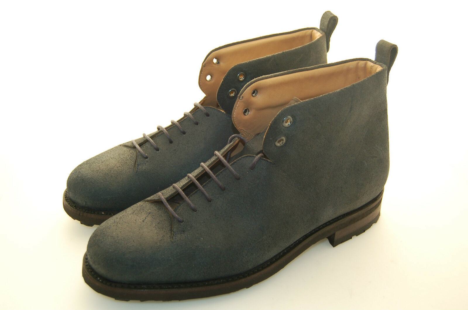 MAN - 43½ - 10½USA - ANKLE BOOT BOOT BOOT - STIVALE - REVERSO CALF - BLUE - RUBBER SOLE 704a7d
