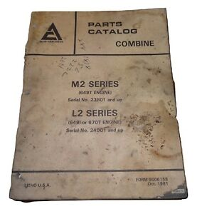 Allis Chalmers Parts Catalog Combine M2 Series L2 Series #23801/#24