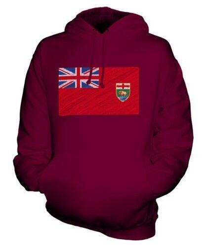 Manitoba State Scribble Flag Unisex Kapuzenpulli Top Geschenk Manitoban Fußball