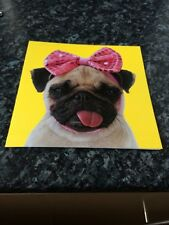 Pug Dog With Tongue Out Wearing Glittery Pink Bow On Head Blank Card 16cmX16cm