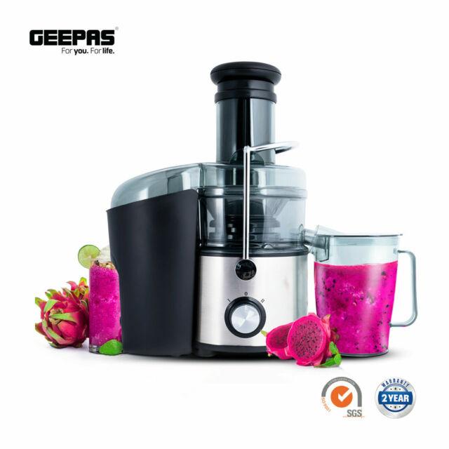 Geepas 800W Fruit and Vegetable Large Capacity Juice Extractor SilverBlack