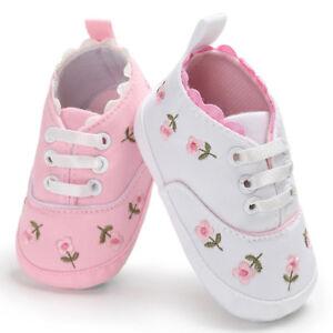 af1b432307aca Newborn Infant Baby Girls Canvas Floral Crib Shoes Soft Sole Anti ...