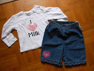 Baby Hose Jeans 3/4 Und Shirt 86/92, Gr