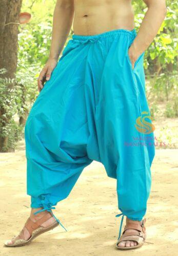 Men Cotton Sky Blue Harem Yoga Pants Women Harem Trouser Hippie Genie Pants SC